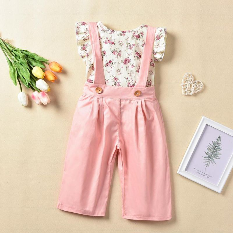 Summer Baby Girl Clothes 2pcs Floral Print Fly Sleeve T-shirt Tops Strap Pants Trousers Casual Outfits Set Fashion