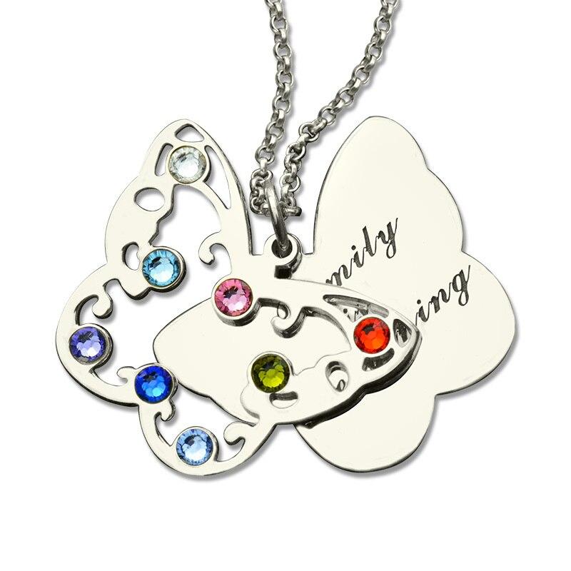 Collier personnalisé pour pierre de naissance papillon collier maman pendentif spécial en argent symbole du changement et de la croissance bijoux papillon