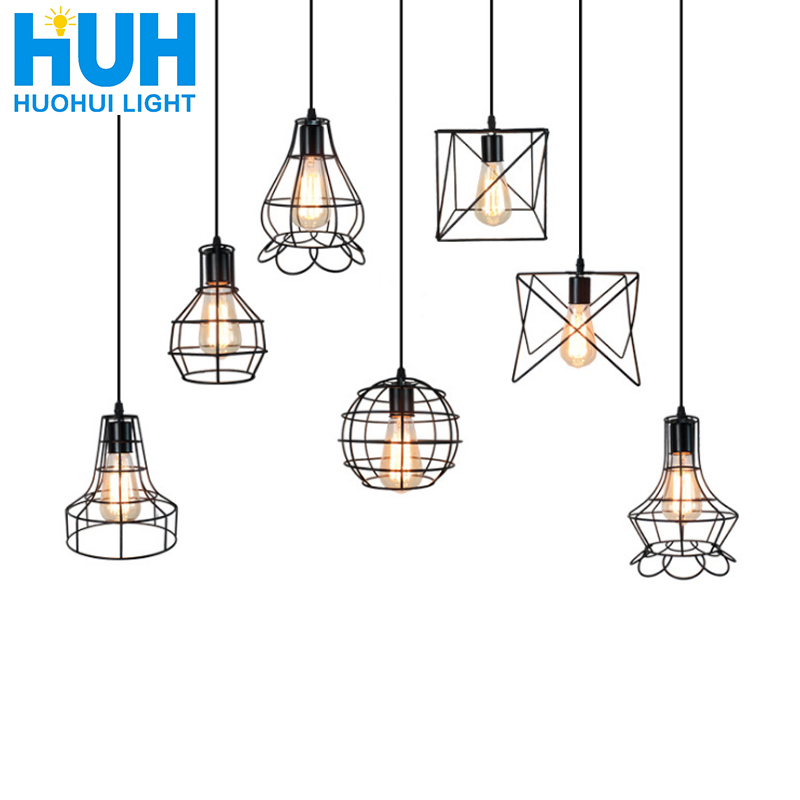 Vintage Iron Cage Hanging Pendant Lights 110v 220v E27 Foyer Dining Room Corridor Coffee Painted 8 Type Light Fixtures