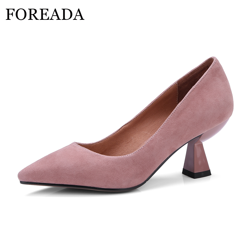 FOREADA Women Pumps Genuine Leather Shoes Spring Strange High Heels Pointed Toe Party Shoes 2018 Slip On Sexy Pumps Pink Shoes women genuine leather slip on pointed toe lazy shoes sweet bow knot shallow party spring autumn women pumps black pink