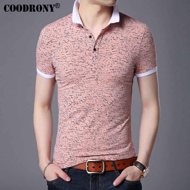COODRONY маленький топ с отложным воротником Homme Повседневная футболка с принтом и короткими рукавами футболка мужская брендовая одежда тонкая хлопковая Футболка S7643