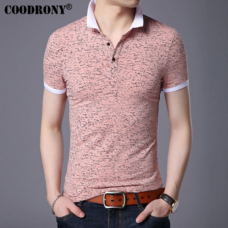 COODRONY Small Turn-down Collar Top Homme Casual Print Tee Short Sleeve T Shirt Men Brand Clothing Slim Fit Cotton T-Shirt S7643