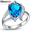 15% Off Anillos Blue Ring Purple 925 Silver Charms Jewelry Water Drop Rings for Women Aneis Mystic Christmas Gifts Uloveido J092