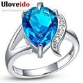 15% de Descuento Anillos Anillo Azul Púrpura de Plata 925 Encantos de La Joyería anillos de la gota de agua para las mujeres anéis uloveido místico regalos de navidad J092