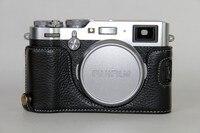 Cuero genuino de la vendimia de la cámara media bolsa para fujifilm x100f x100-f real de cuero duro medio cuerpo para fuji x100f