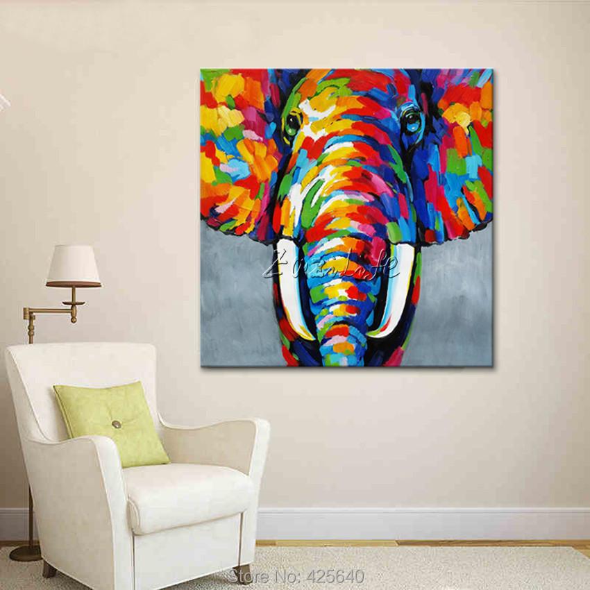 Tier Elephant Lgemlde Auf Leinwand Malerei Fr Wohnzimmer Wandkunst Pop Art Moderne Abstrakte Handgemalte Tapete