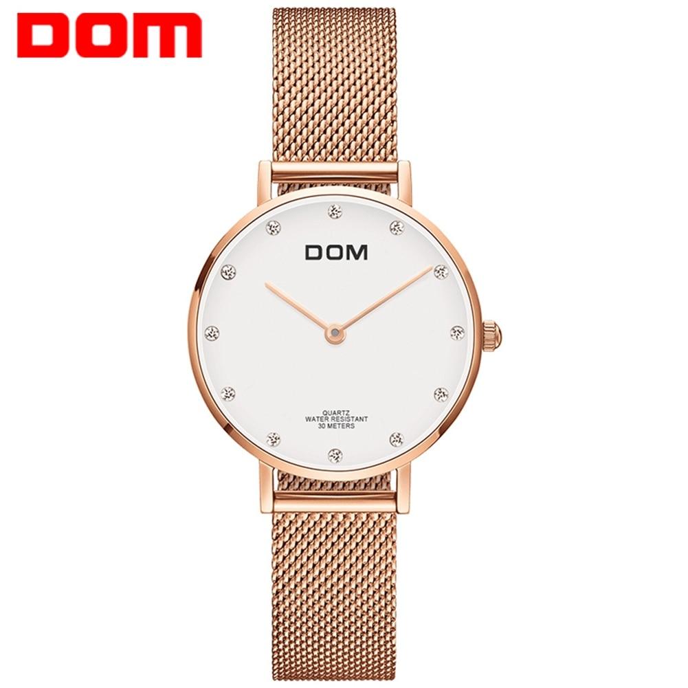 DOM часы Для женщин лучший бренд класса люкс кварцевые часы Повседневное кварцевые часы кожа сетка ремень ультра-тонкие часы Relog G-36D-7M