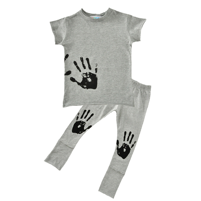 60e923e16 Summer Kids Boy Clothing Sets 2017 New Brand Hand Pattern T shirt+ ...