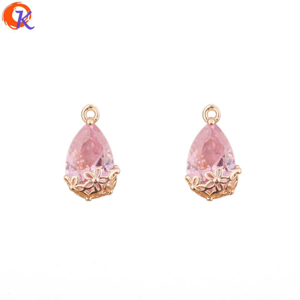 Cordial Design 50Pcs 9*17MM Jewelry Accessories/Earrings Part/DIY Jewelry Making/Pink Crystal Pendant/Hand Made/Earring Findings