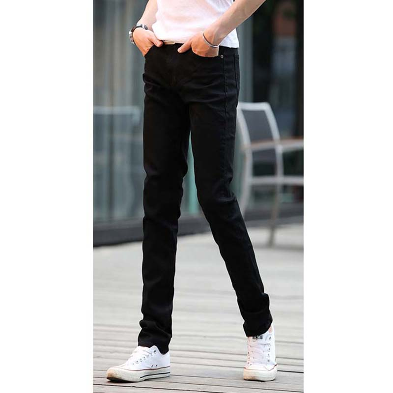 Summer Skinny Jeans Men 2019 Korean Fashion Solid Color Thin Stretch Pencil Pants Men's Street Casual Sports Mens Jeans Brand