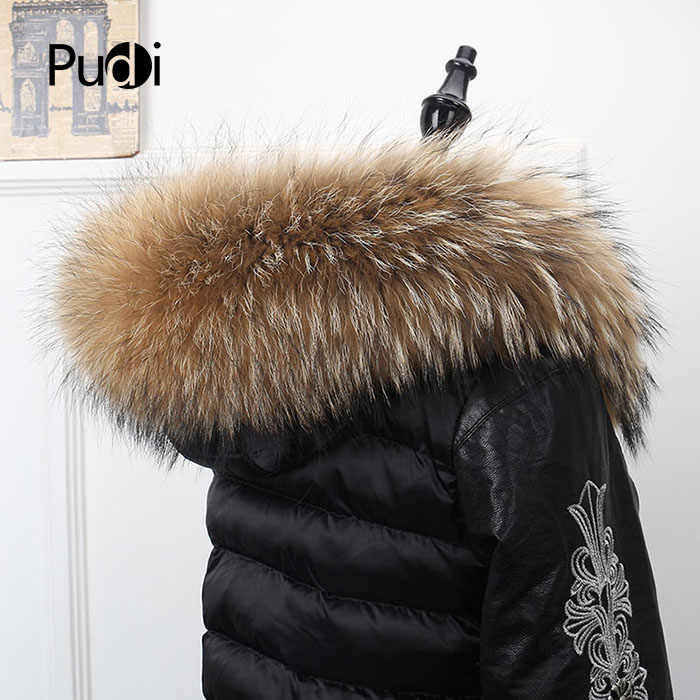 Pudi SF869 women real raccoon fur cuff 2018 new long natural genuine fox fur collar