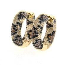 Women Mixed Color Cubic Zirconia Hoop Golden Copper Pins Earrings MOLINUO