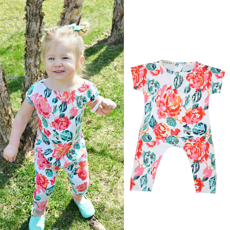 2018 Summer Floral Print Baby Romper Short Sleeve Newborn Girl Clothes Tiny Cottons Baby Rompers Onesie Infant Jumpsuit 0-24m
