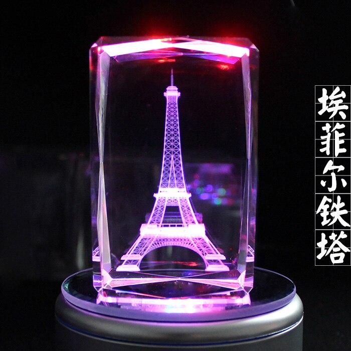 2019 noël TOP romantique présent-France tour Eiffel 3D cristal Image décoration-édition limitée frais de port gratuits