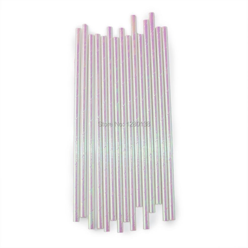 5000pcs Iridescent Mint Pink Hot Pink Foil Paper Drinking Straws ...