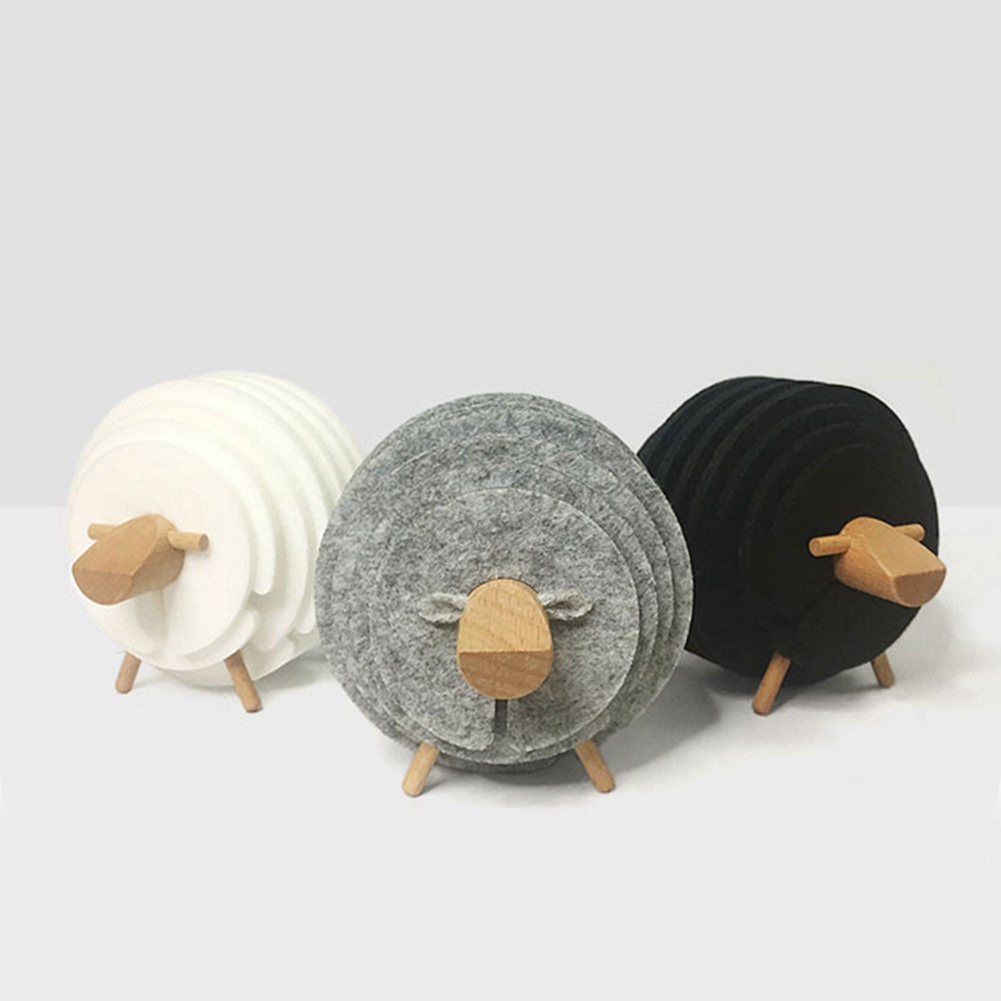 Creative Sheep Shape Cup Mat Anti Slip Drink Coasters Insulated Round Felt Japan Style Creative Home