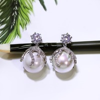 Love Accessories Sweet Ladies Small Earring 18K Gold Platinum Plated 14mm White Pearl Clear CZ Stud