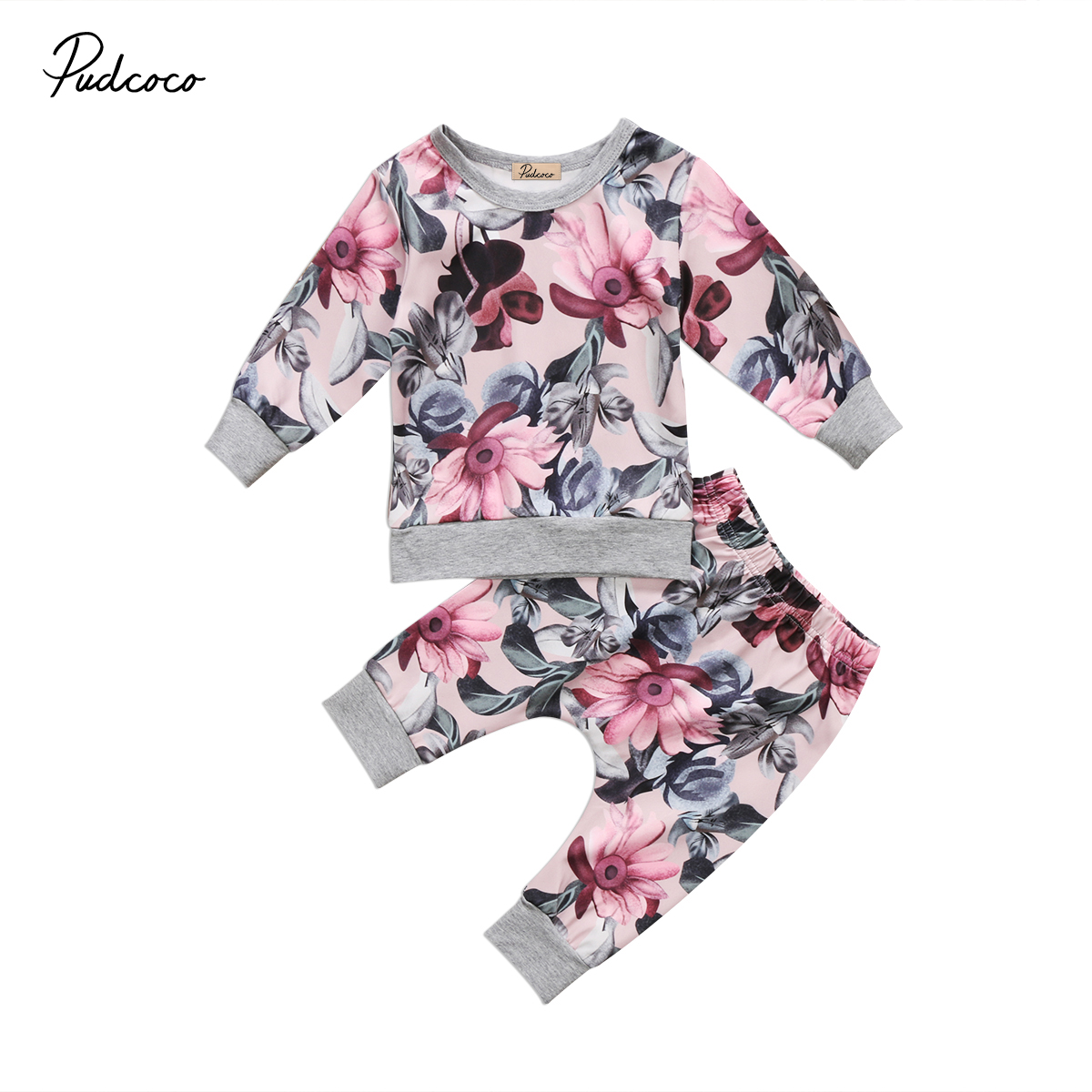 2pcs Newborn Baby Kids Girls Floral Clothes Set Long Sleeve Coats T-shirt Tops Floral Pants Outfits Set newborn baby kids boys tops cool letter printing i do what i want sleeveless t shirt vest short pants 2pcs outfits set clothes
