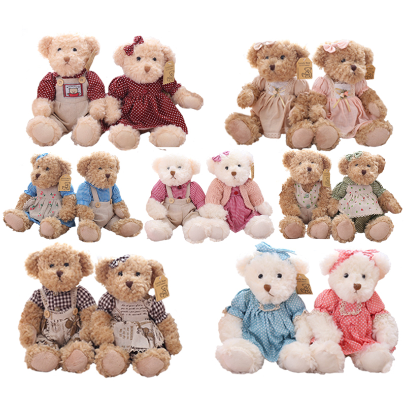 2 Pcs/pair Lovely Mini Couple Teddy Bear With Cloth Plush Toys Wedding Dolls Stuffed Toy Kawaii Girls Birthday Christmas Gift