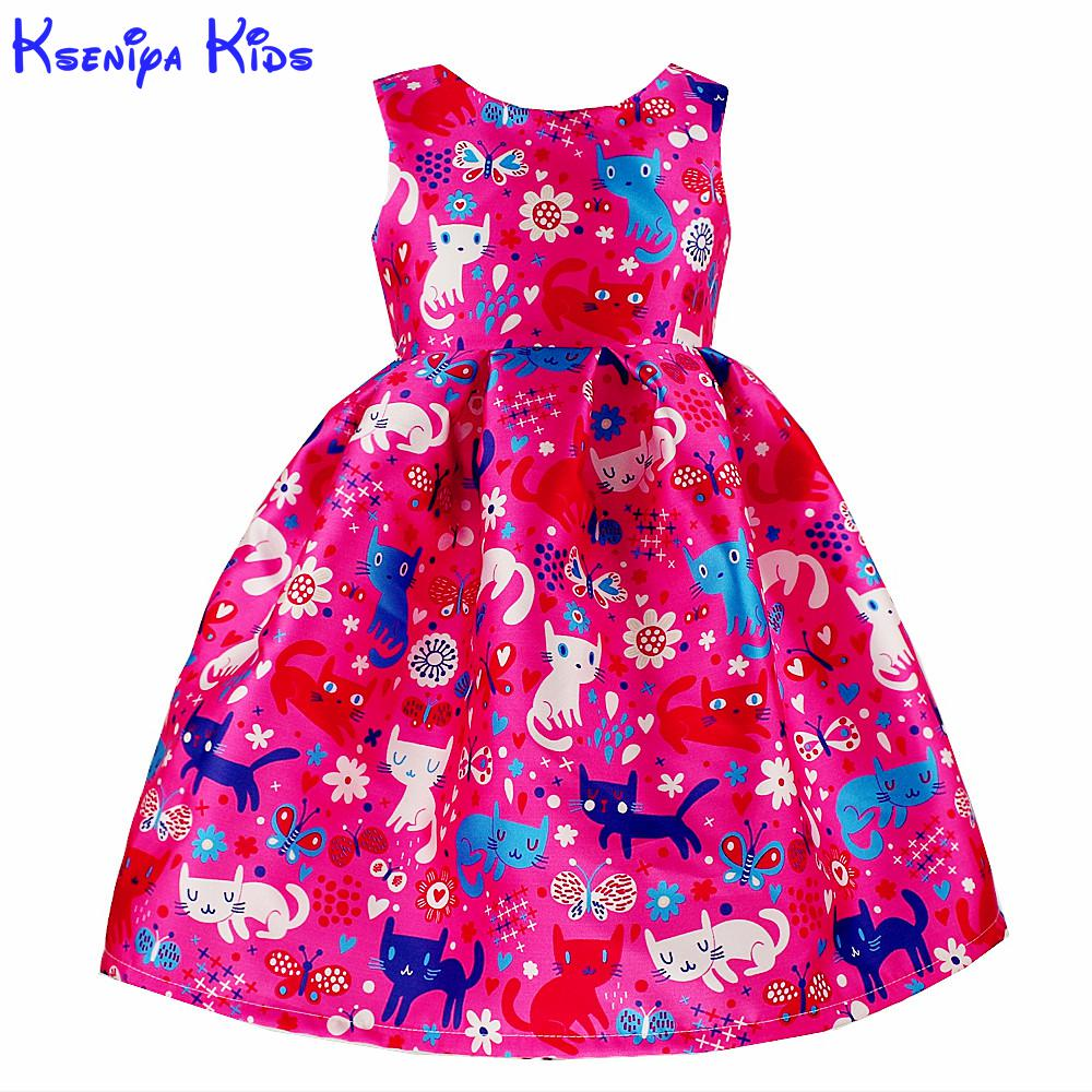 Kseniya Kids Little Girl Ball Gowns 2017 New Year Kids Girls Frocks Party Dress Poland Cartoon Cat Print 2-10 Years Alg1116