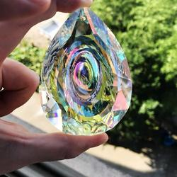 H & d cristais de suspensão prisma suncatcher para windows decoração 89mm ab-color lustre peças diy casa acessórios de decoração de casamento
