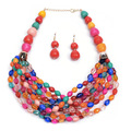 Ethnic Bohemian Colorful Beaded Necklace Set with Earrings Multilayer Statement Resin Beads Jewely Collier Femme for Women N1218