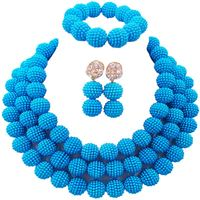 Hot Selling Lake Blue Indian Style Women Wedding Necklace Sets for Engagement 3C ZZ 06