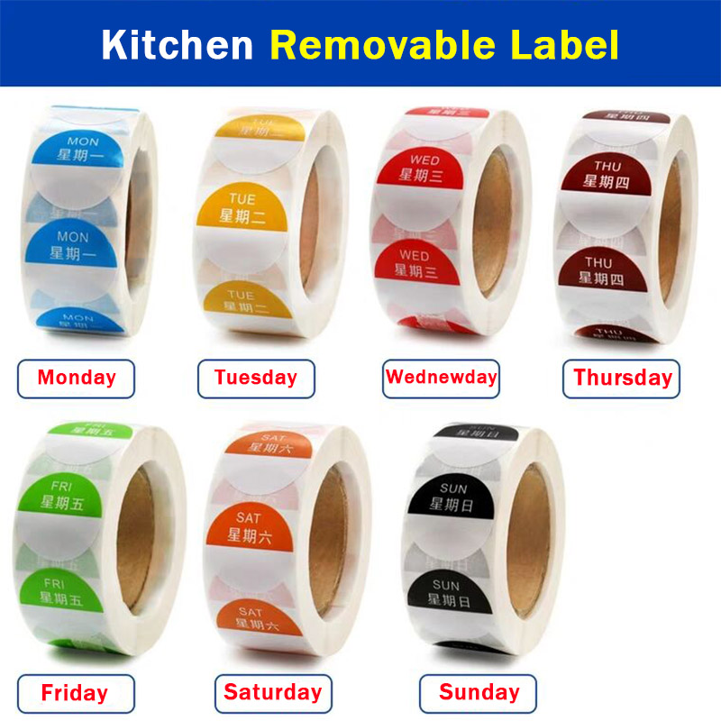 7 Rolls/Set Day Of The Week Rotation Label  Food 1 X 1 Inch Dissolvable Removable Label Sticker (Roll Of 500) (Monday To Sunday)