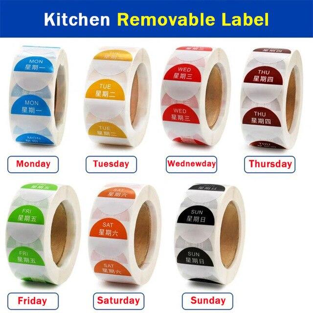 Étiquettes autocollantes amovibles, amovibles, 1x1 pouce, rouleau de 500, jour de la semaine (du lundi au dimanche), 7 rouleaux/ensemble