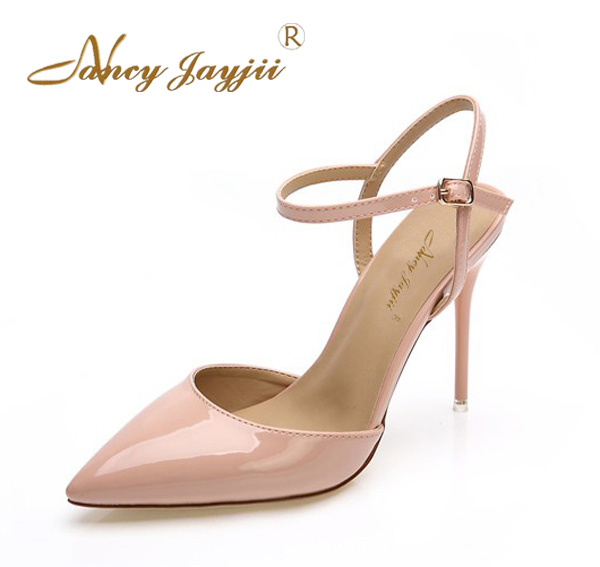 Nancyjayjii New Woman Summer Pink Fashion Pointed Toe Leather Ankle Buckle High Heels Sandals Wedding Shoes Women,Big Size 4-16.