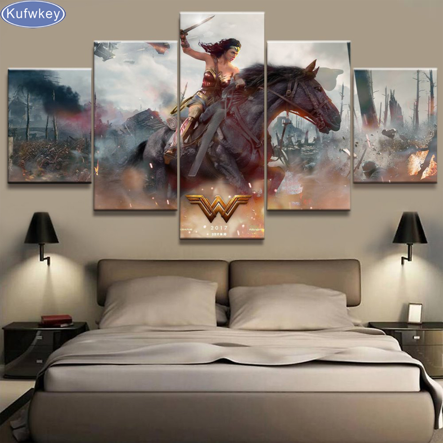 5pcs/set,movies,Wonder Woman,Full Square 5D DIY Diamond Painting,3d,Diamond Embroidery Cross Stitch,Mosaic,stickers home decor
