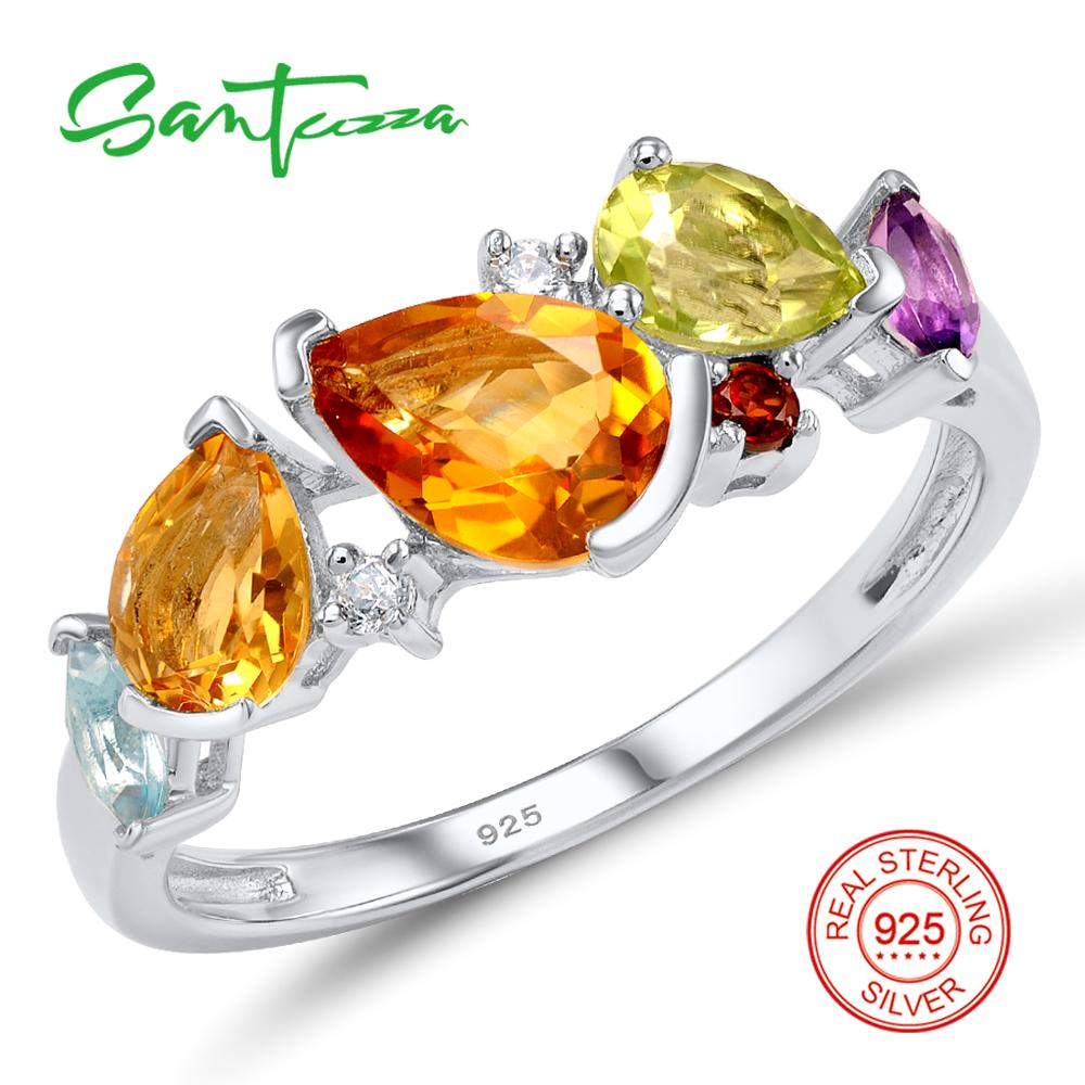 SANTUZZA Silver Ring For Women 925 Sterling Silver Fashion Round Rings for Women 2017 Cubic Zirconia