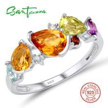 Серебряное кольцо для женщин Красочные природные камни аметистами-цитрины-гранат-перидот Дамы Кольцо Твердые стерлингового серебра 925 кольцо