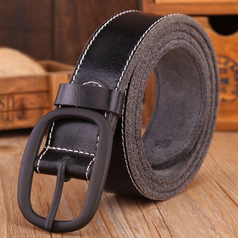 VOHIO 2018 Genuine Leather Belt Black Buckle Casual Mens leather belt Archaize Head Creams Mens Belt Jeans Brand
