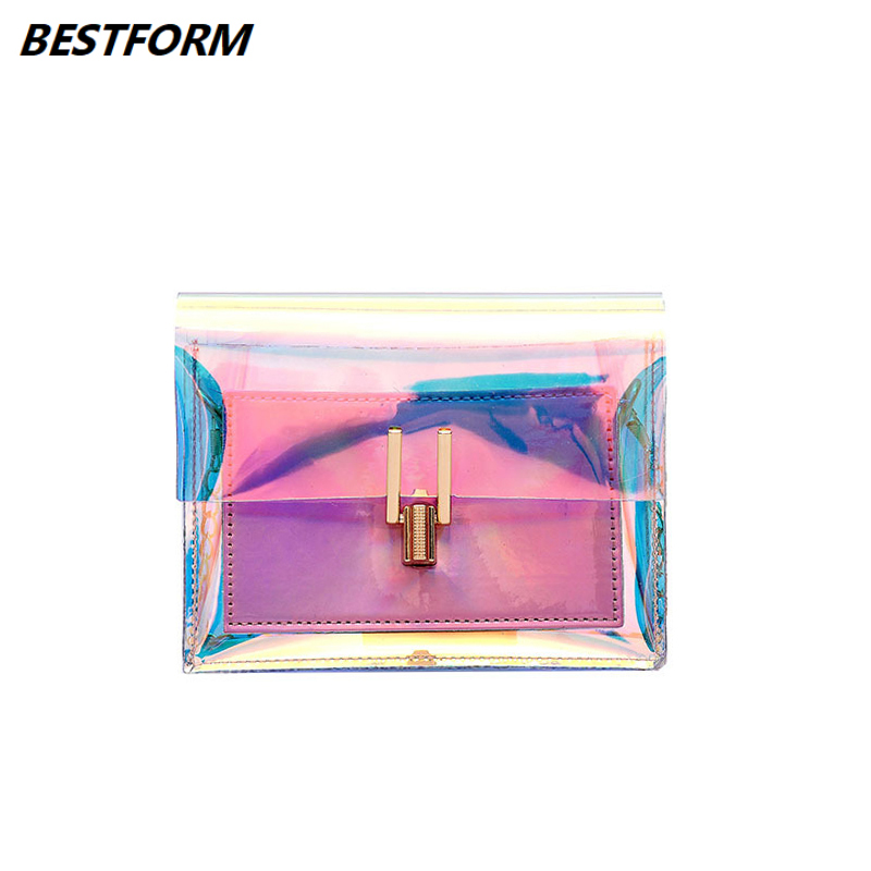 BESTFORM Crossbody Bags For Women 2019 Laser Transparent Bags Fashion Women PVC Waterproof Shoulder Bag Messenger Hasp Beach Bag