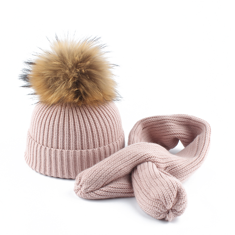 2019 New Winter Boys Girls Hat Scarf Set Crochet Children Hat Kids Wool Cap Baby Pompom Beanies Caps Knitted Skullies(China)