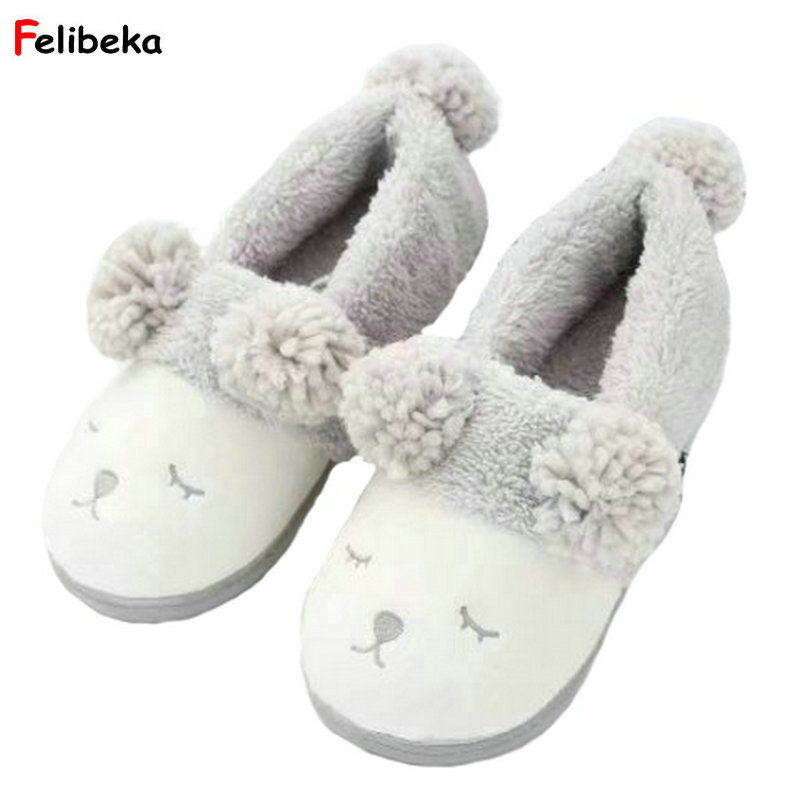 FELIBEKA Winter Cotton Lovers Home Slippers For Women and Men Lovely Cartoon Sleepy eyes Sheep House Slippers Shoes Flats Girl sweet cartoon and color block design slippers for women
