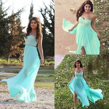 Long Evening Dress 2015 New Arrival vestidos de formatura Formal gown blue Chiffon with Lace Sweetheart long beach prom dresses
