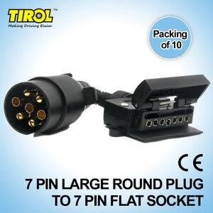 TIROL T21579d 7-контактный разъем для прицепа, лодки, грузовика, автомобиля, адаптер 7-контактный плоский разъем для 7-контактного большого круглог...