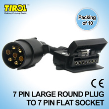TIROL T21579d 7 Pin Plug Connector Trailer Boat Truck Car Adaptor 7 Pin Flat Socket to 7 Pin  Large Round Plug