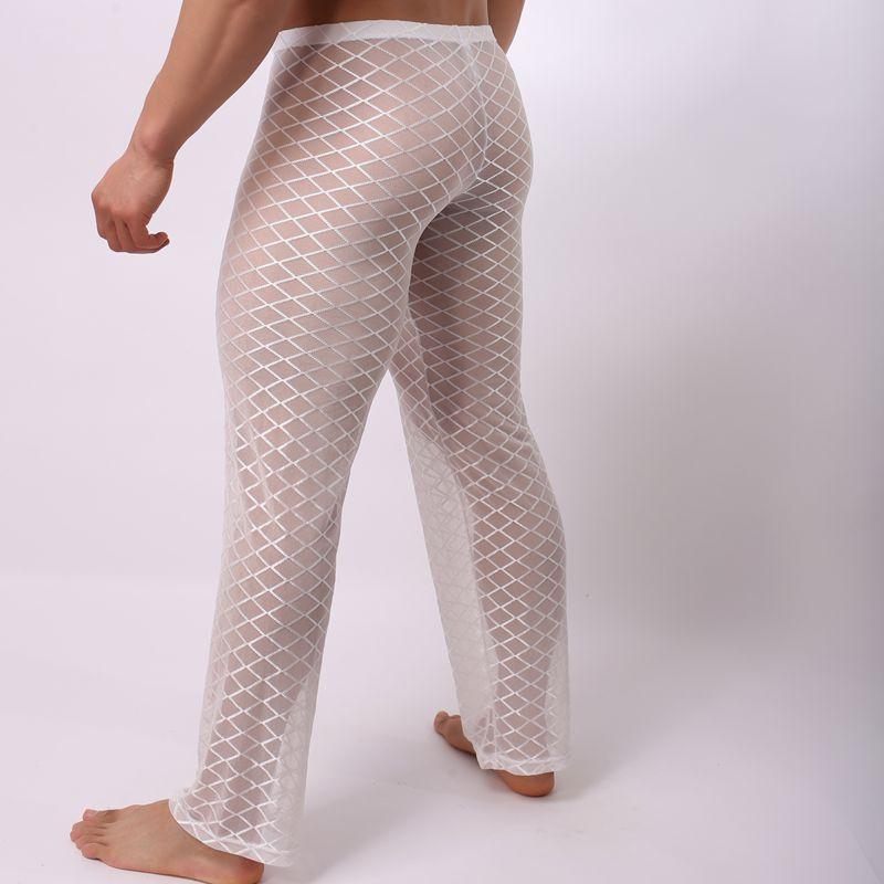 New Diamond Shaped Pants Sexy Transparent Breathable Mesh Pajamas Trousers Mens Sexy Sleepwear Pajamas Pants