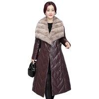 Для женщин теплые куртки женские Повседневное длинное пальто Для женщин зимние Искусственная кожа меховой воротник куртки верхняя одежда