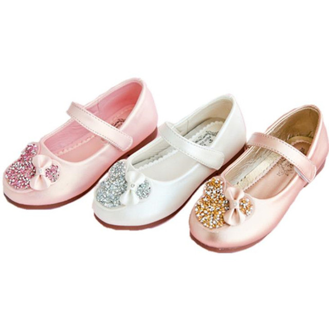 a4ff94c7f343 HaoChengJiaDe Kids Girls Rhinestone Bowknot Shoes Princess PU Leather Shiny  Party Shoes Glod White Pink Hook Loop Shoe For Child
