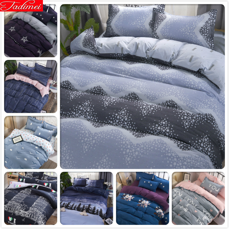 Plain Duvet Cover Bedding Set 3/4 Pcs Bed Linen Adult Kids Child Bedspreads Single Full Double Queen King Size Quilt Pillow Case