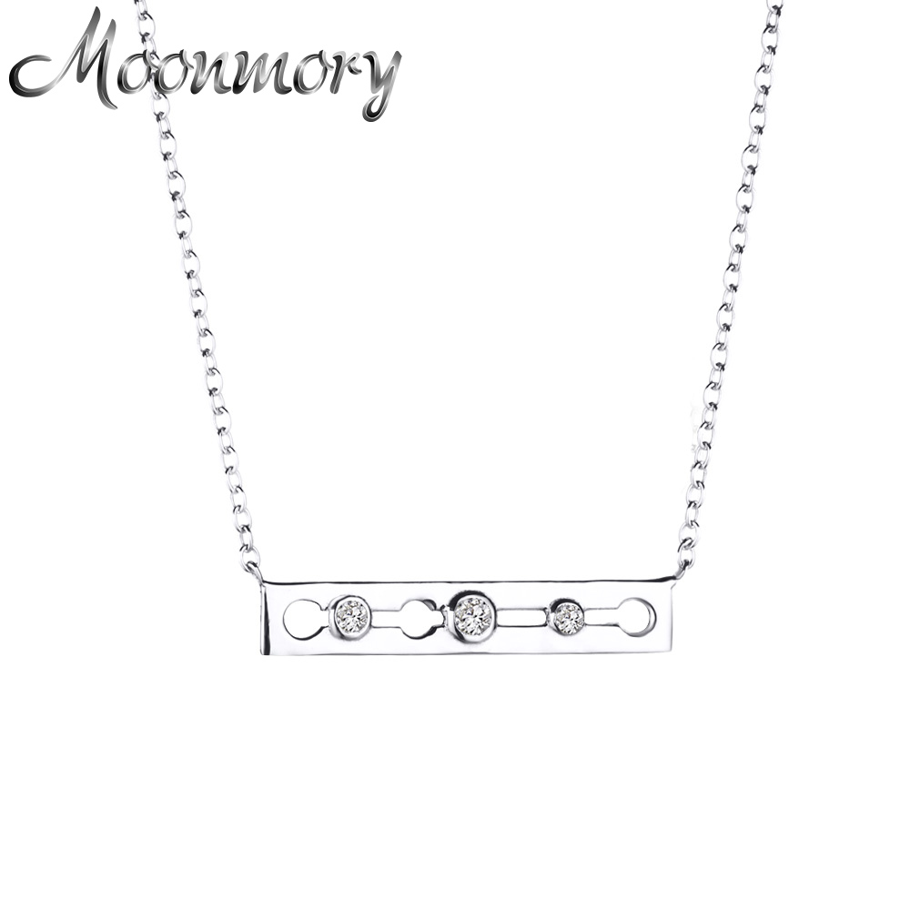 .925 Sterling Silver White Crystals CZ Womens Sideways Bar Pendant Necklace