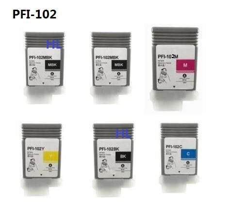 6pcs Compatible Canon ink cartridge PFI-102 for IPF-500 510 600 605 610 700 710 Printer full ink 6 pcs ink cartridge t0771 t0772 t0773 t0774 t0775 t0776 for epsonr260 r380 r280 rx580 rx680 rx595