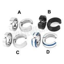 Free Shipping! No Piercing Biker Earring Studs Stainless Steel Jewelry Silver Black Round Ear Cuff Motor Biker Earring SJE370145