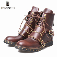 Prova Perfetto Chic Buckle Cow Leather Side Zipper Women Boots Metal Decoration Retro Lace Up Handmade Rivets Low Heels Boots