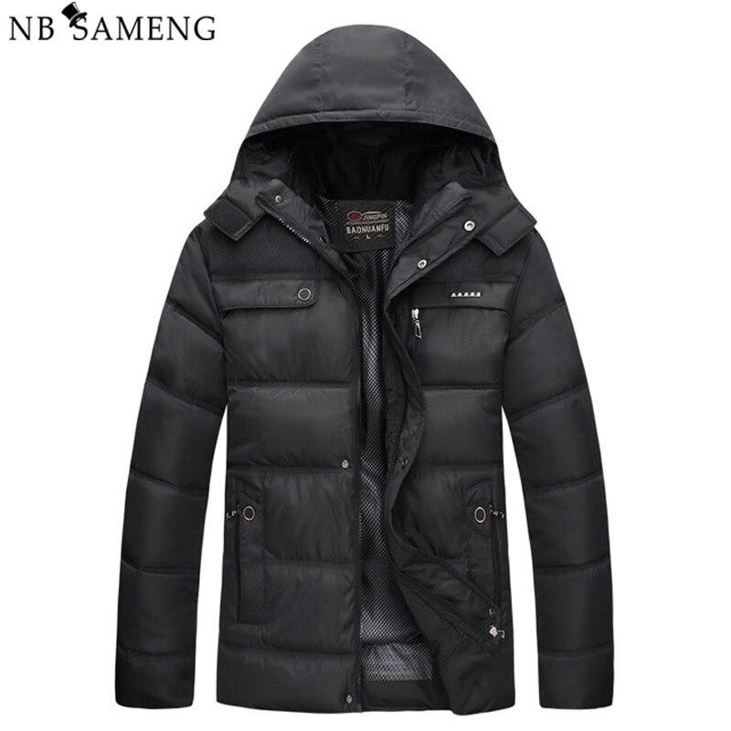 ФОТО New 2016 Men Winter Black Jacket Parka Warm Coat With Hood Mens Cotton Padded Jackets  Coats Jaqueta Masculina Plus Size NSWT015