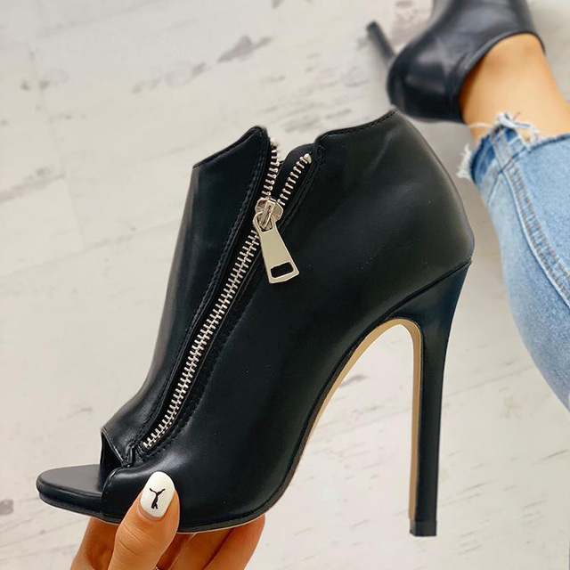 New Women summer Thin High Heels 11cm Zipper Peep Toe gladiator pumps office sandals party shoes 5